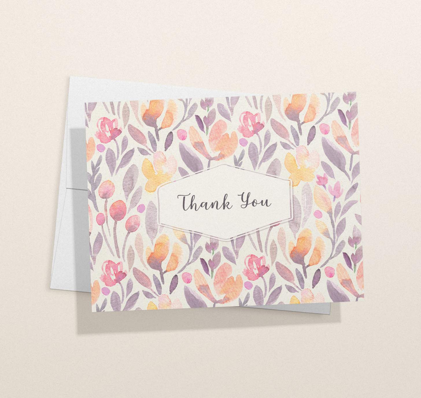 Pink floral design thank you card with white envelope