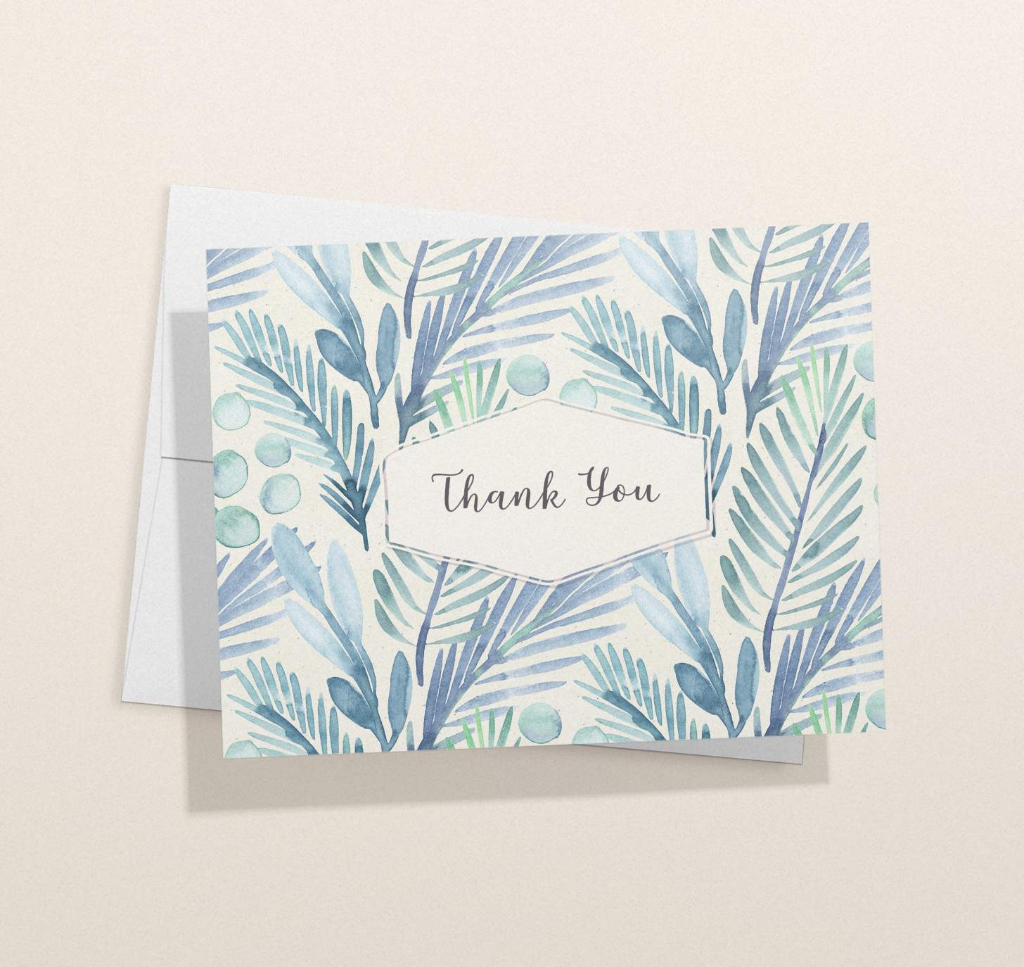 Blue floral design thank you card with envelope