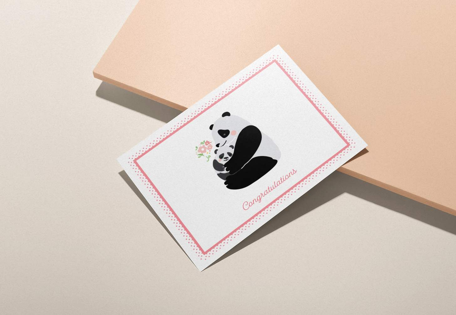 Mother and baby panda design on a pink background