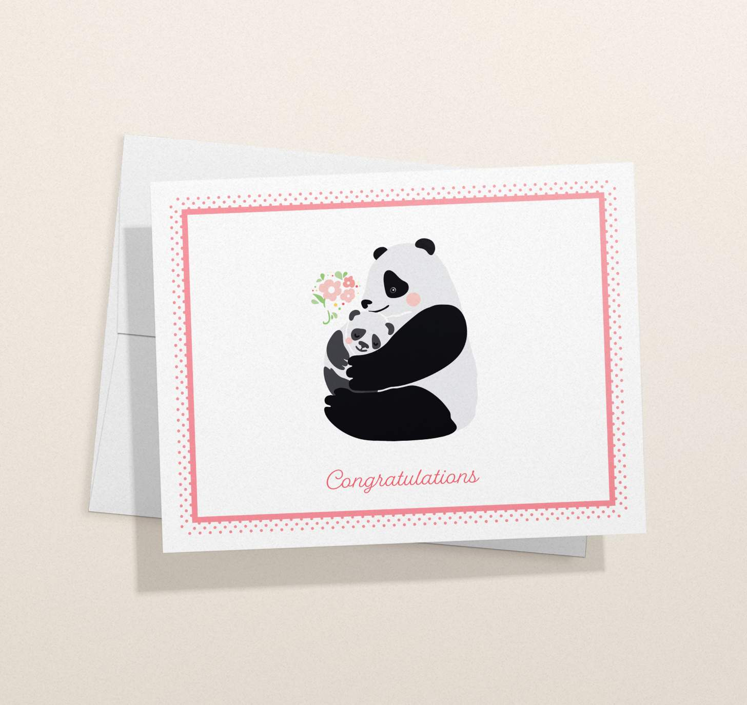 Mother and baby panda design with envelope