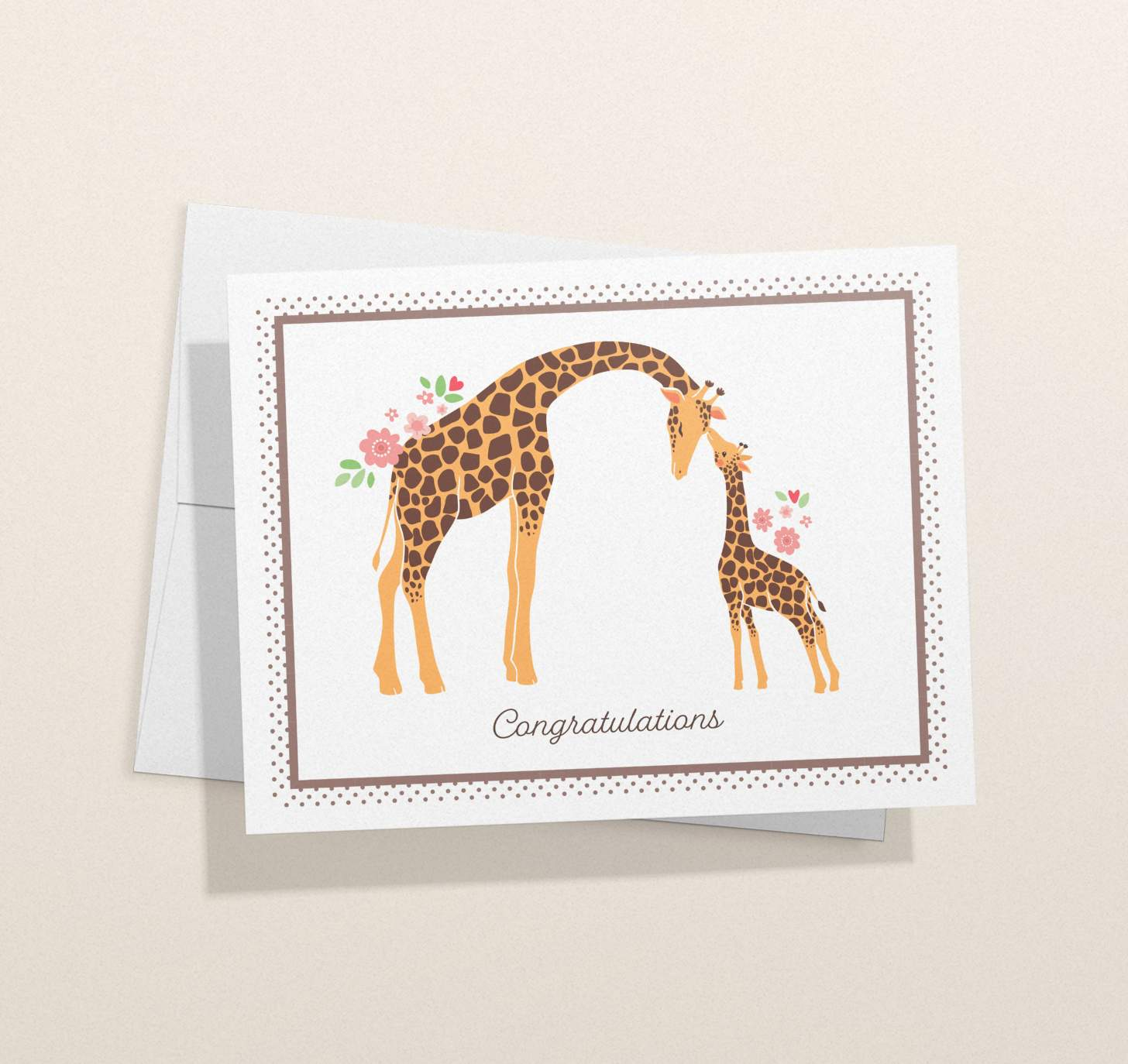 Mother and baby giraffe design with envelope