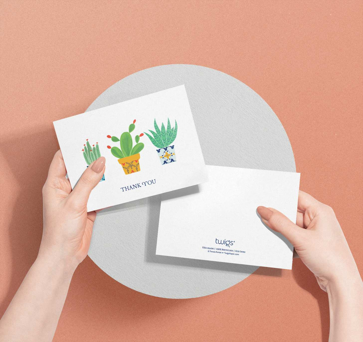 Hands holding card with three colorful cactus designs