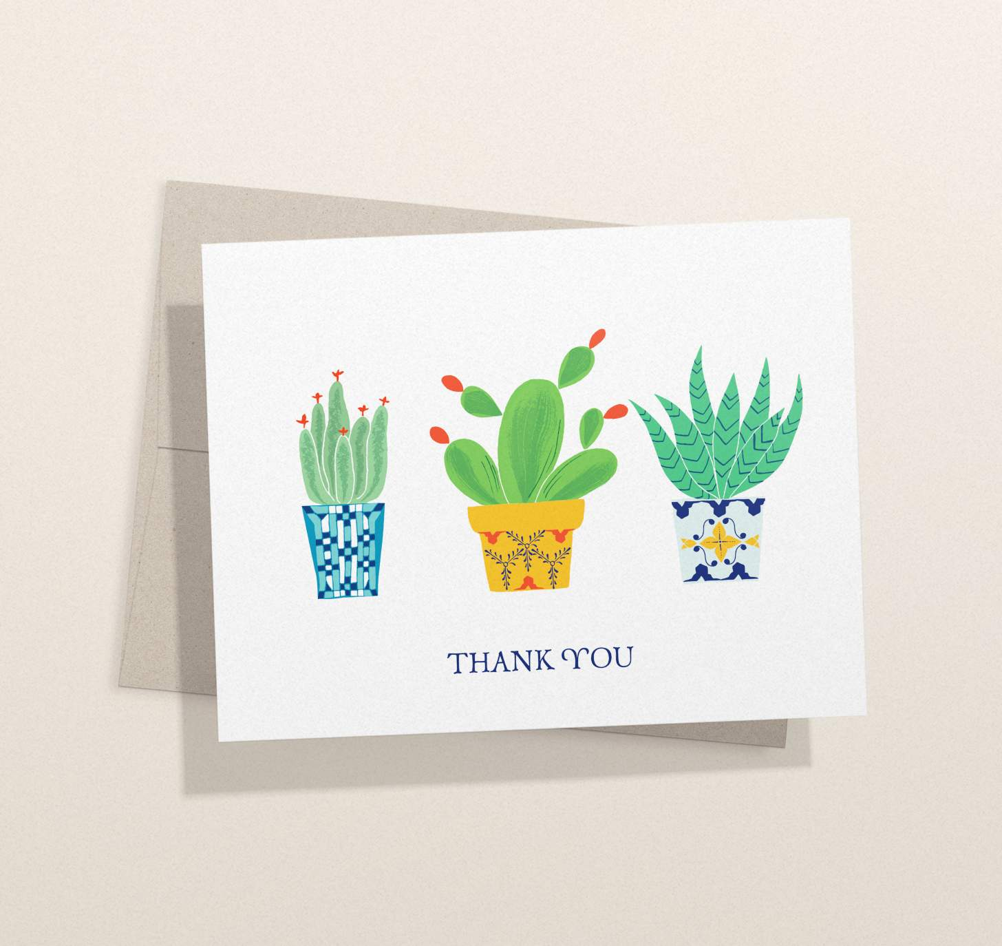 Three colorful cactus design card with envelope