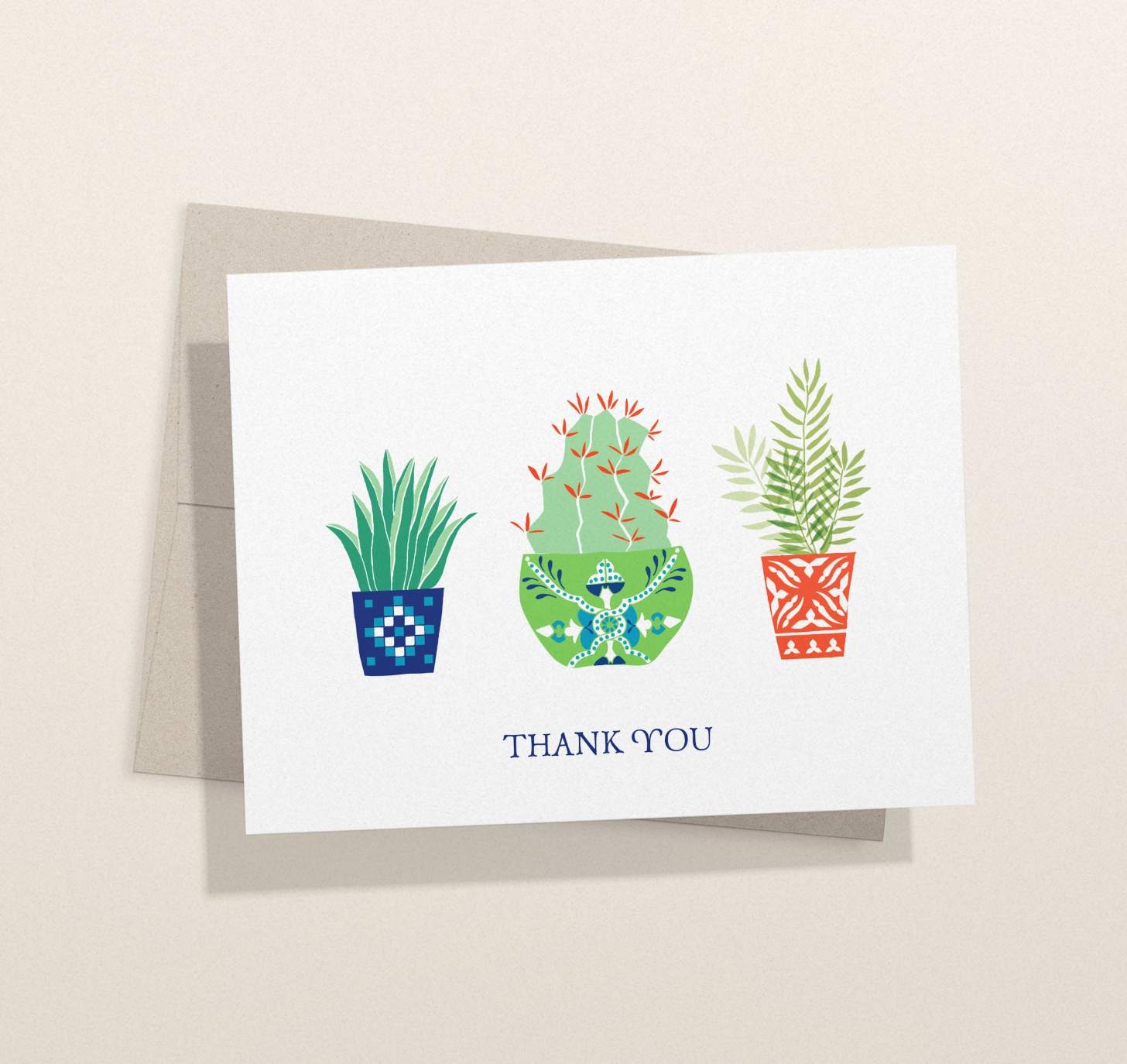 Three colorful cactus plant design card with envelope