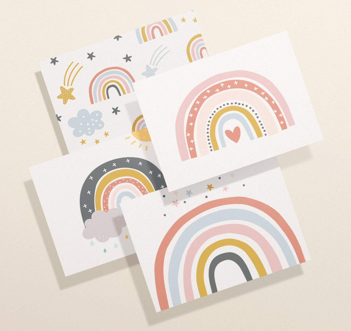 Four overlapping rainbow cards with assorted colorful designs