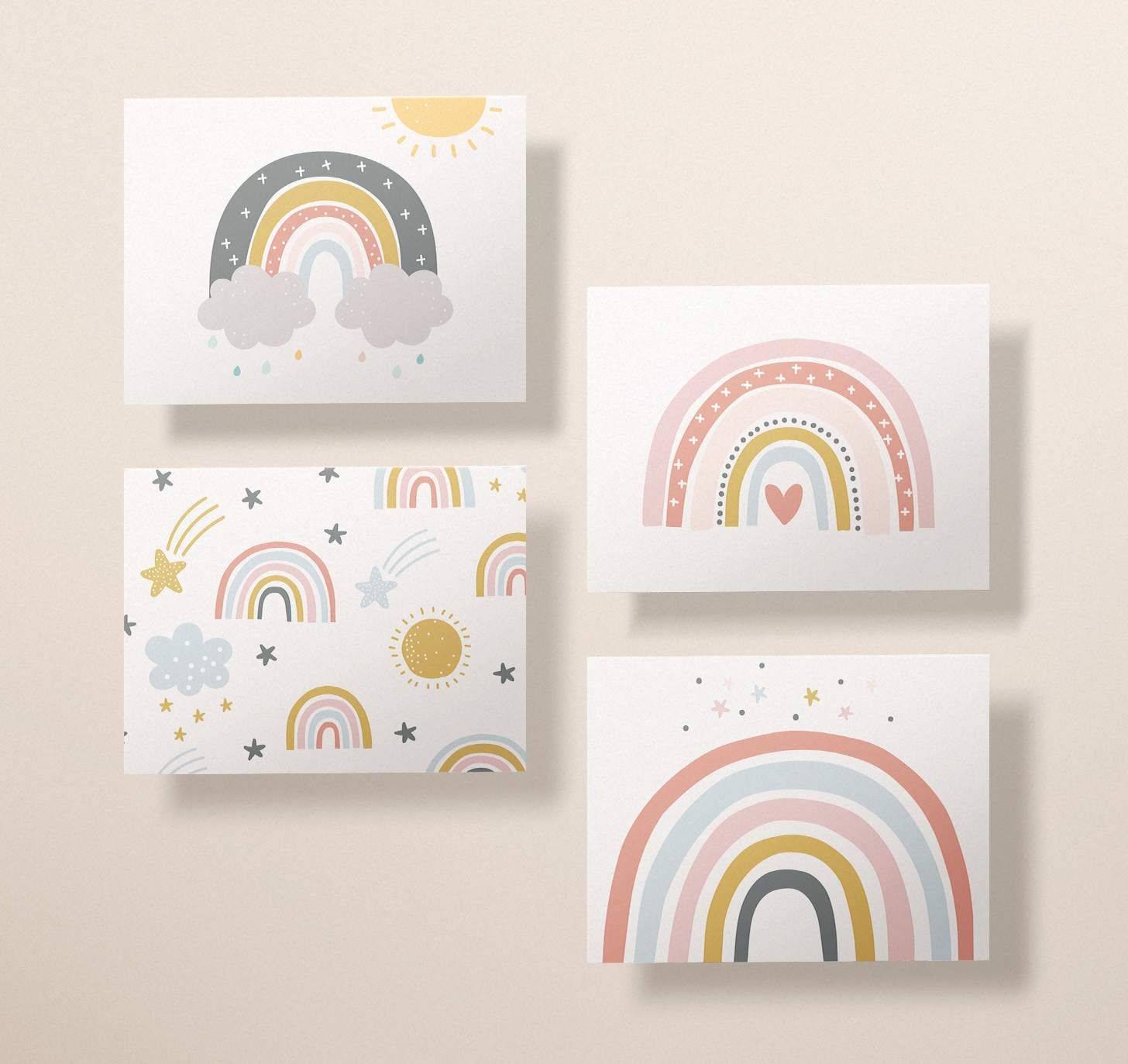 Four rainbow card designs with clouds, stars, and hearts