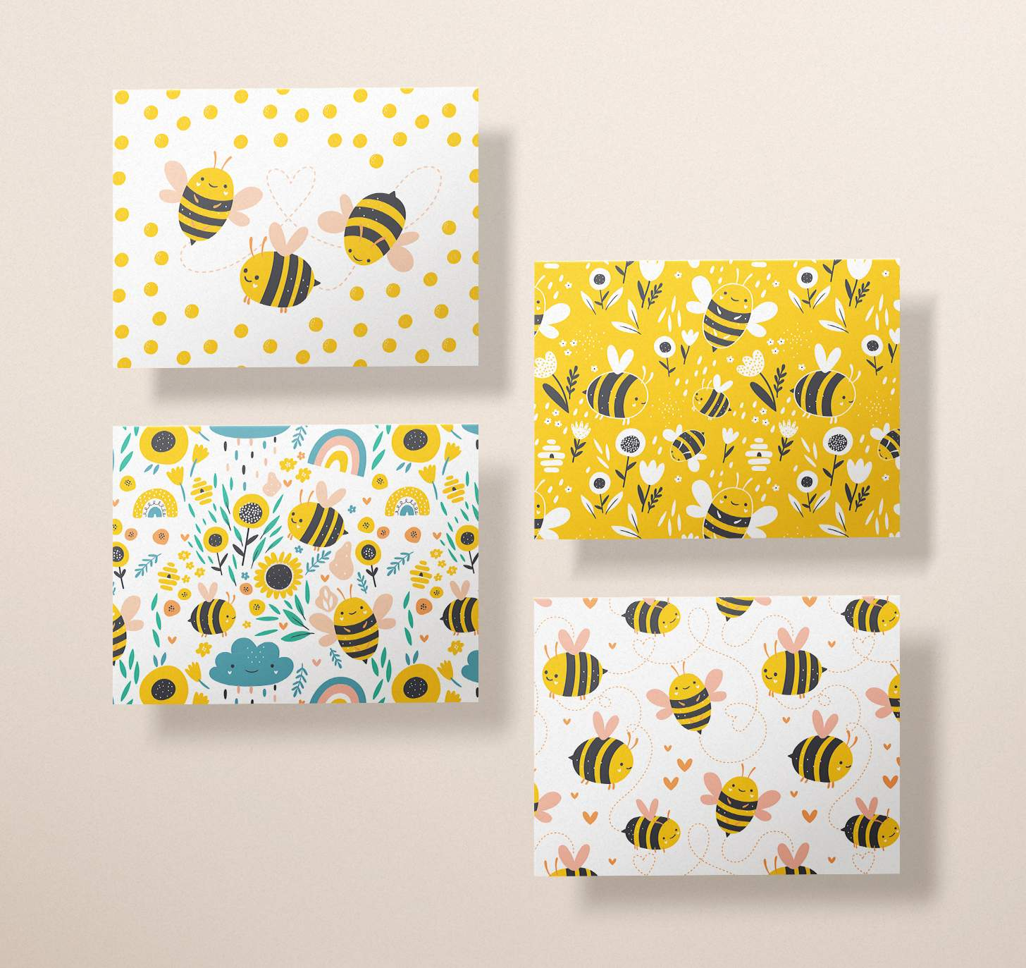 Four assorted cards with with colorful bumble bee designs