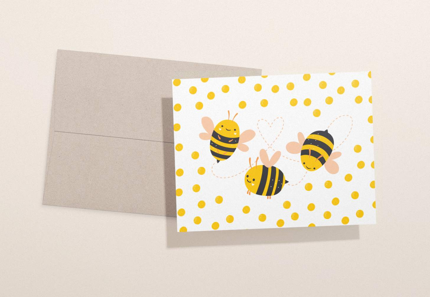 Card design with three cute bumble bees with brown envelope