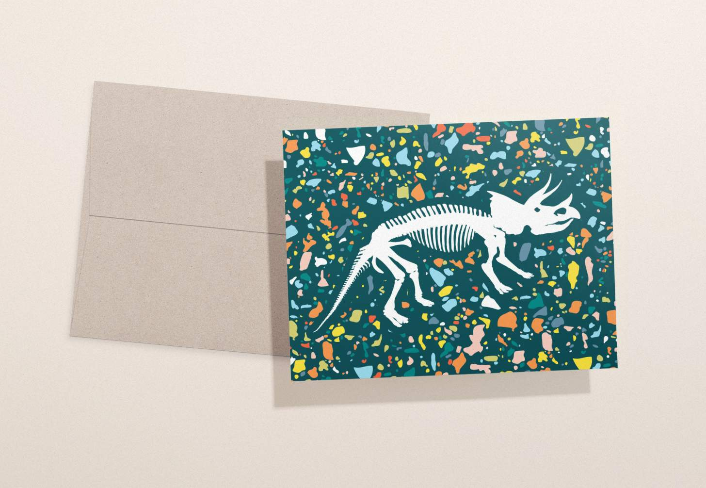 Dinosaur bones design with colorful background and brown envelope