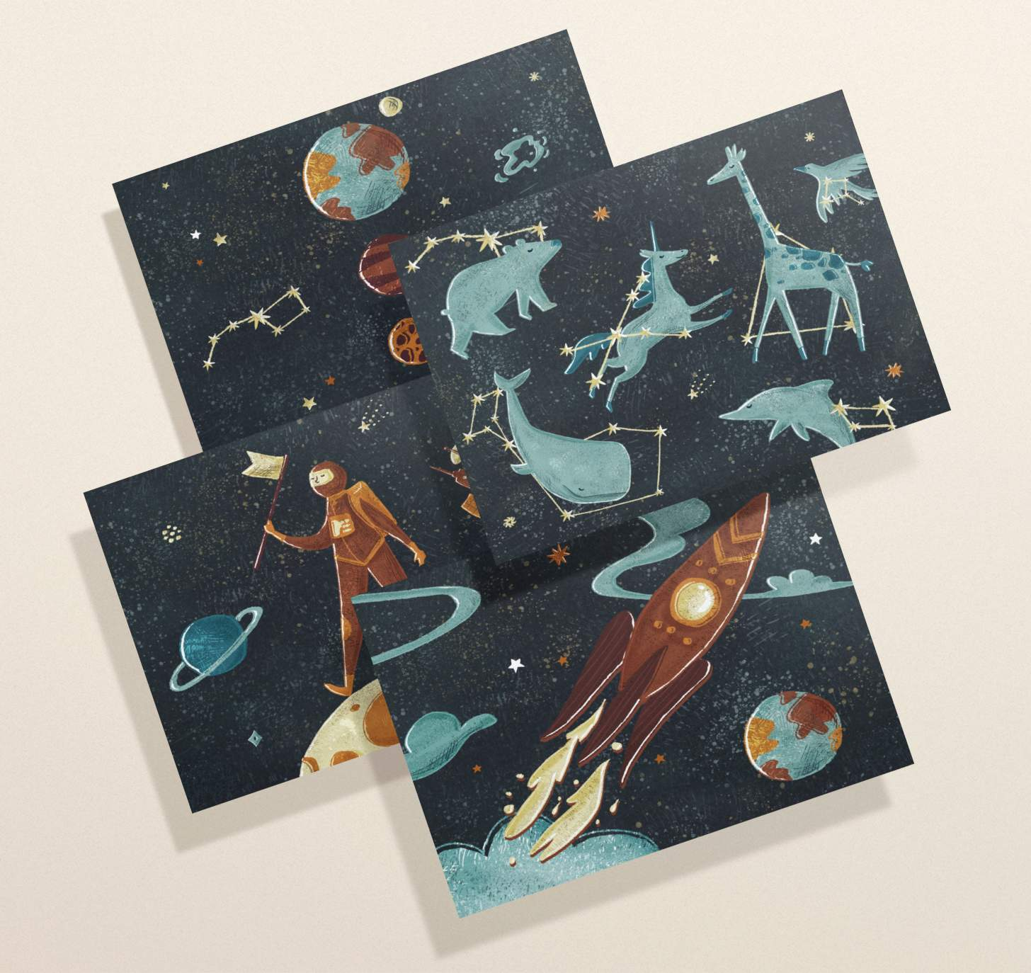 Four overlapping space cards featuring man on the moon, constellations, rocket ship, and solar system designs