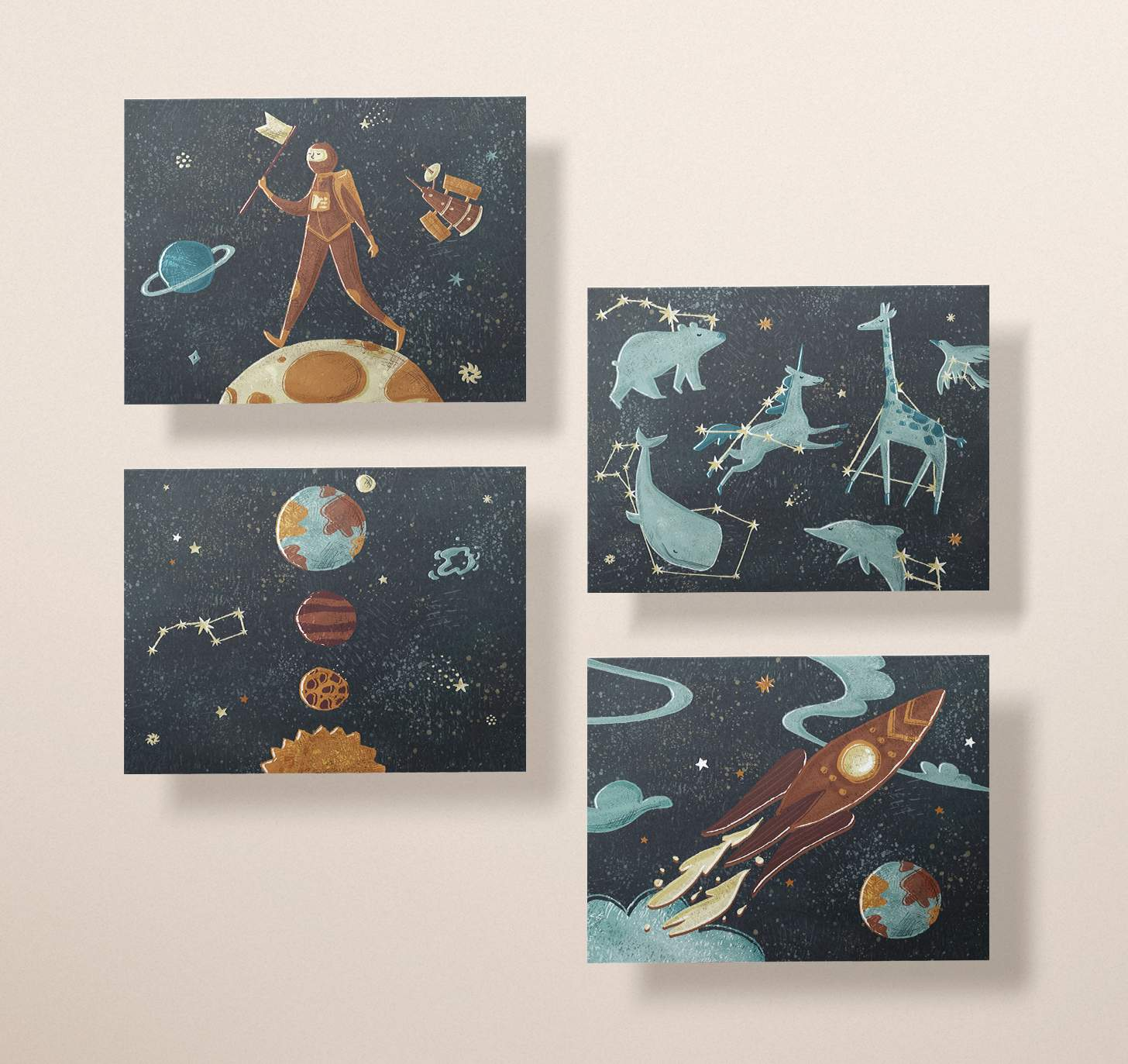 Four space cards featuring man on the moon, constellations, rocket ship, and solar system designs