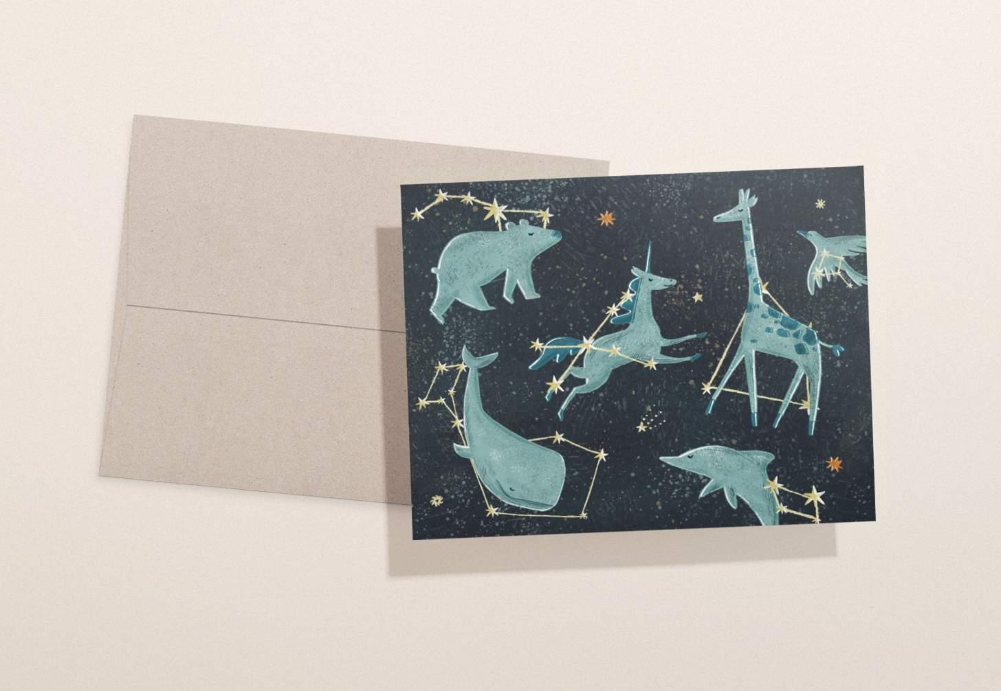 Blue animal constellation design with brown envelope