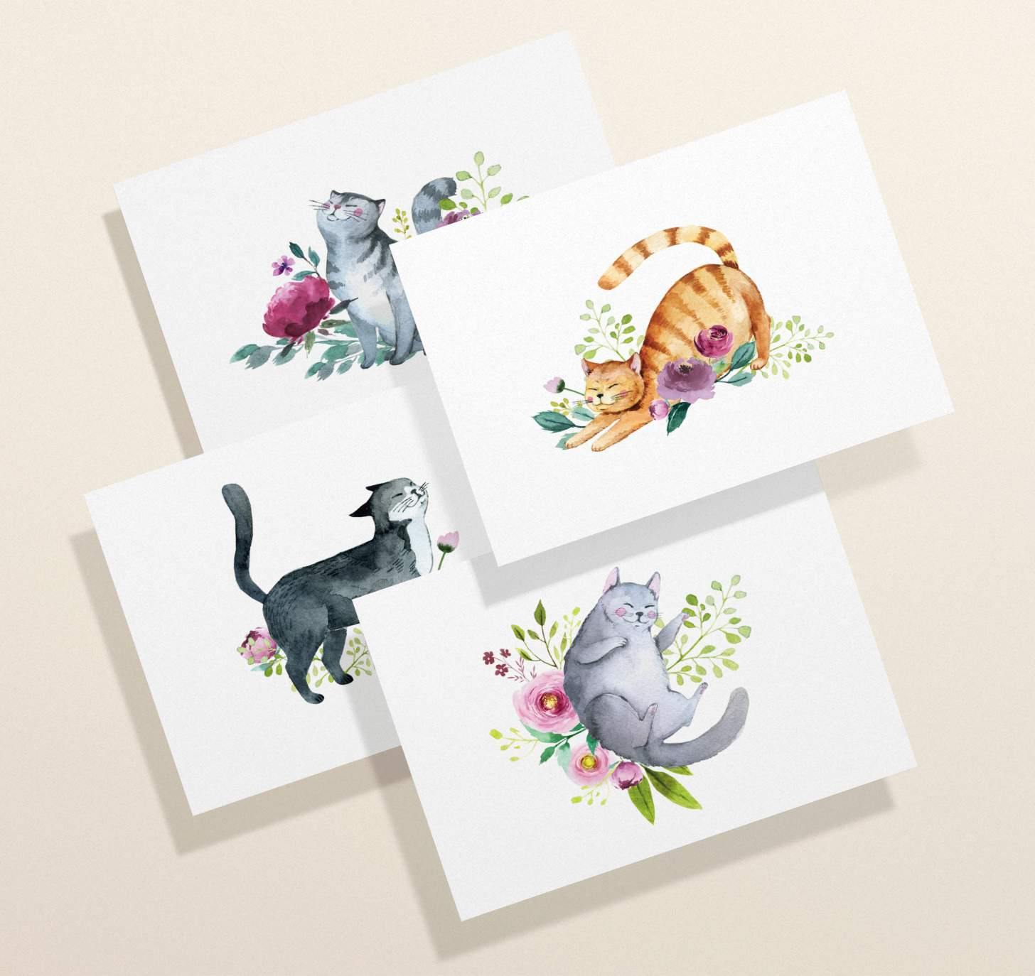 Four overlapping cards with gray, orange, black, and gray striped cat designs with flowers