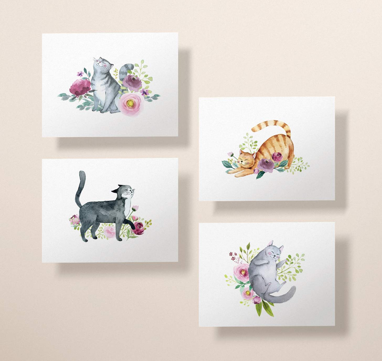 Four cards with gray, orange, black, and gray striped cat designs with flowers