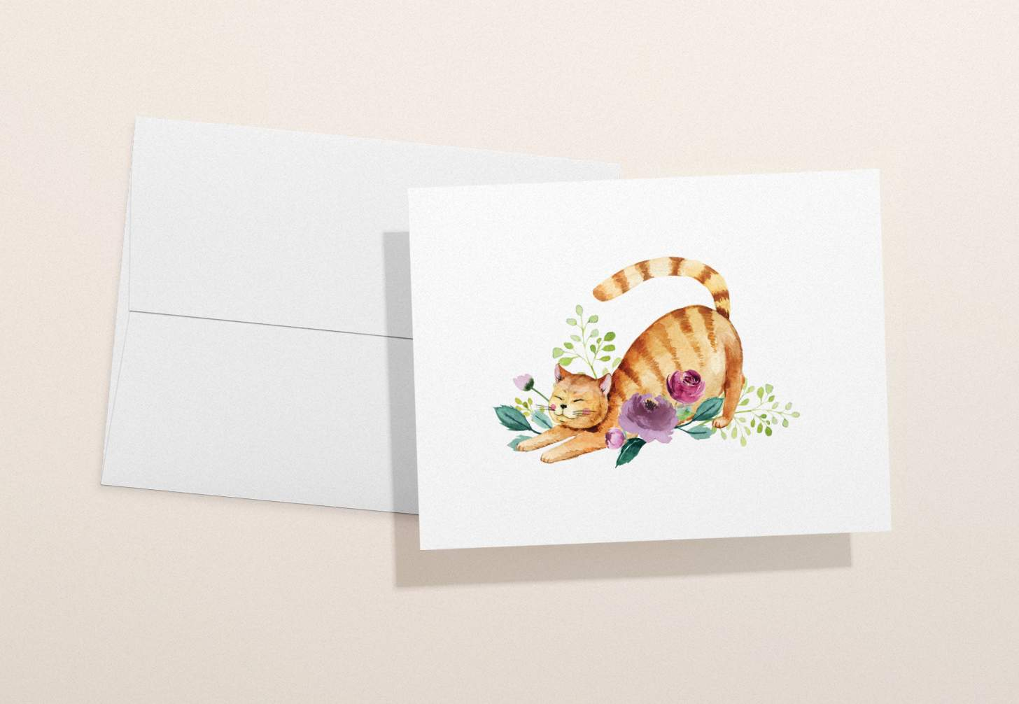 Orange striped cat with flowers design with white envelope