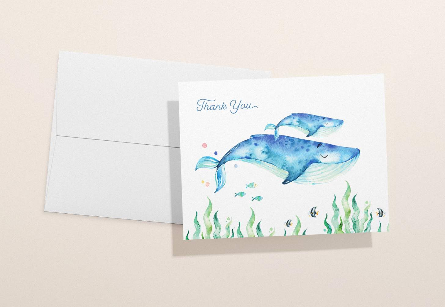 Mother and baby blue whale design with tropical fish with white envelope