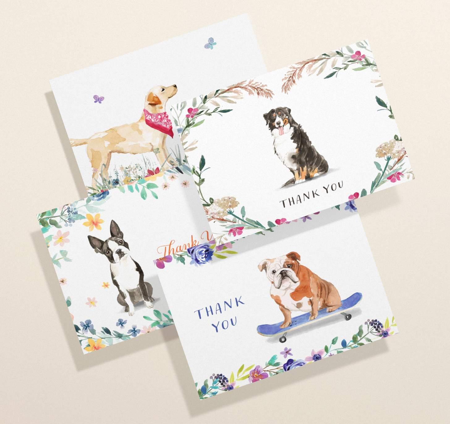 Four overlapping cards with labrador retriever, boston terrier, bernese mountain dog and english bulldog designs
