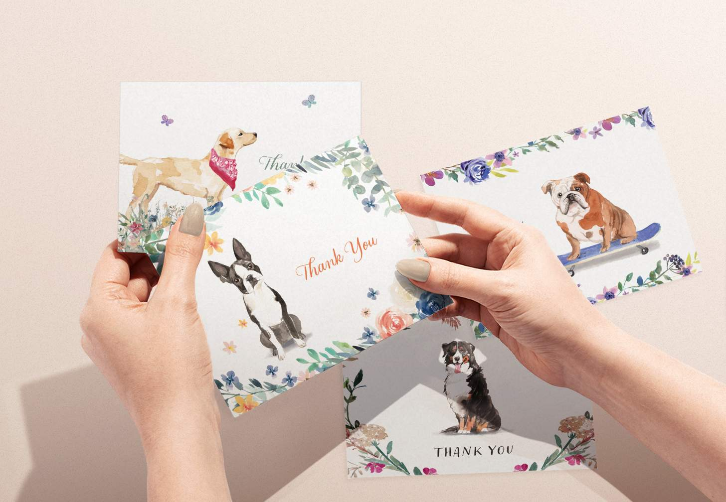 Woman's hands holding boston terrier card with various dog designs in background