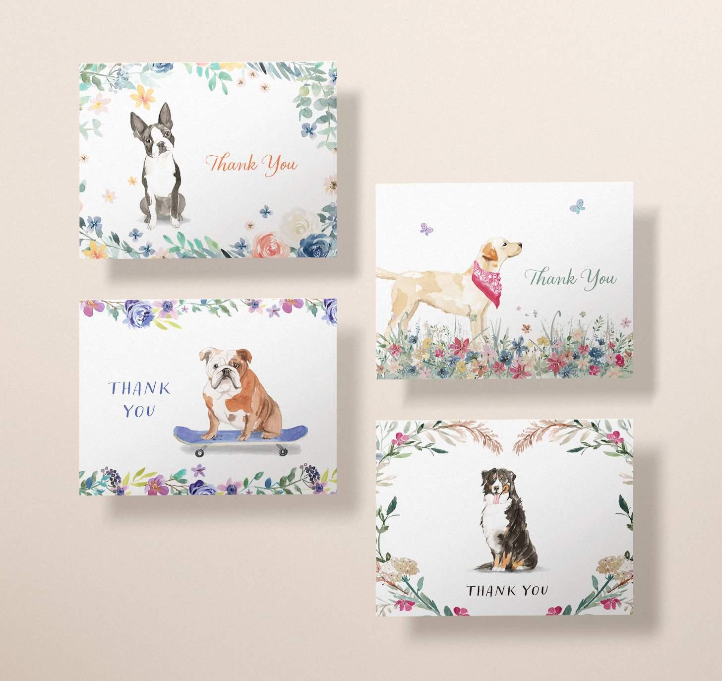 Four cards with labrador retriever, boston terrier, bernese mountain dog and english bulldog designs