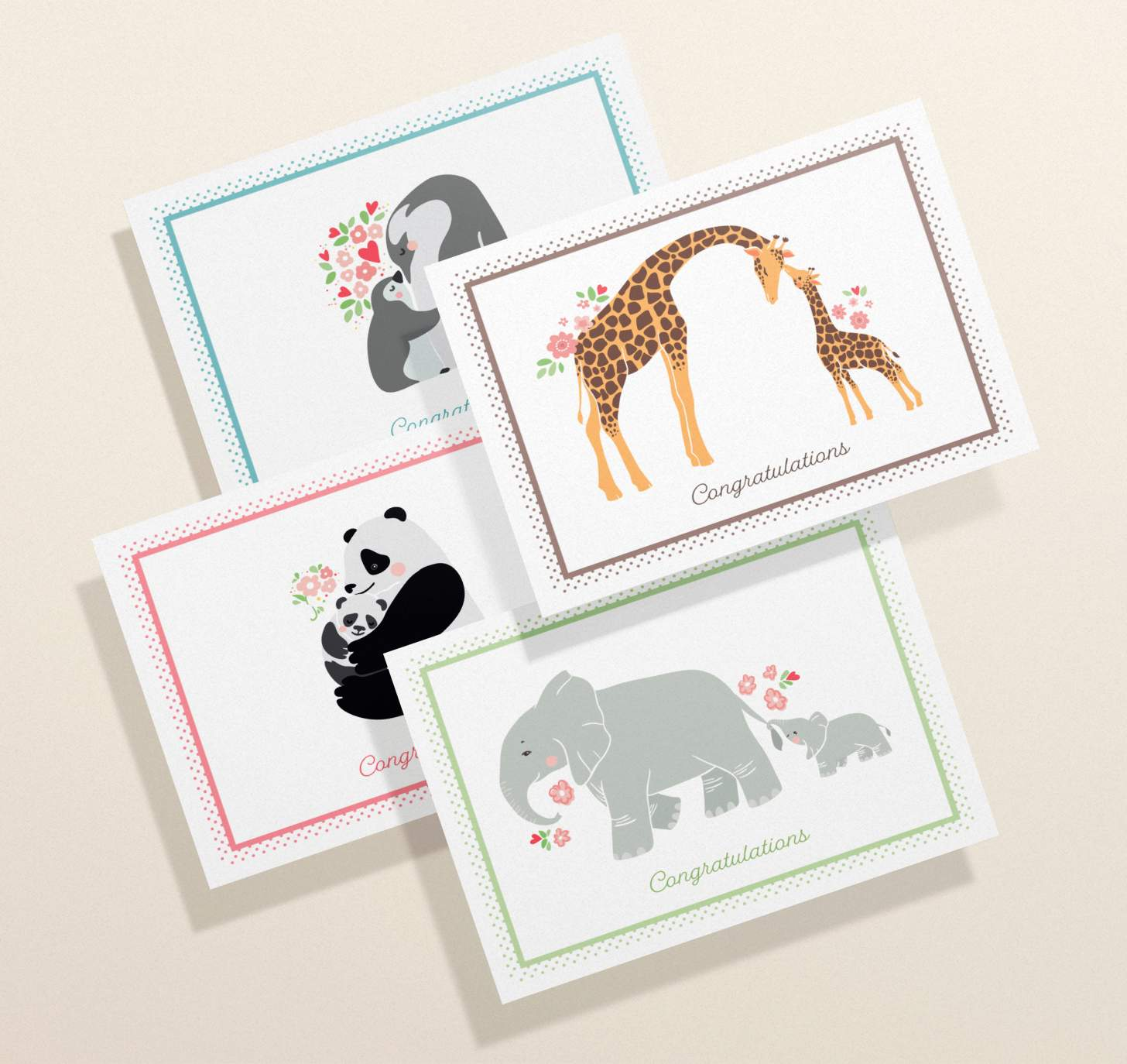 Four overlapping cards with mother and baby elephant, giraffe, panda, and penguin designs