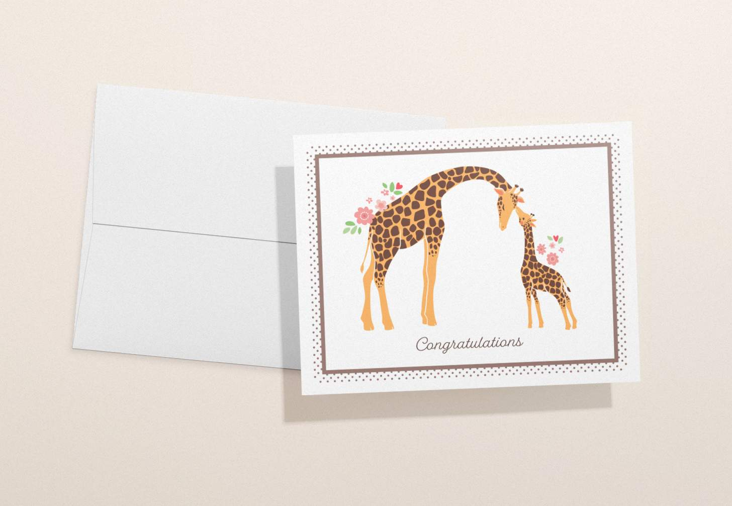 Mother and baby giraffe design with a white envelope