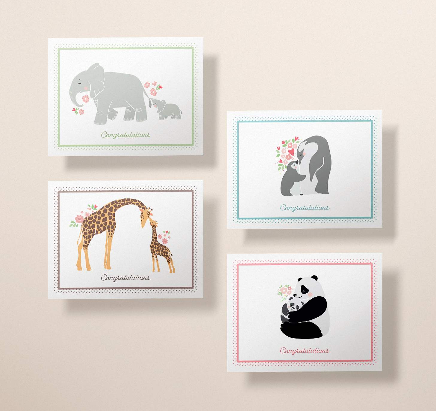 Four cards with mother and baby elephant, giraffe, panda, and penguin designs
