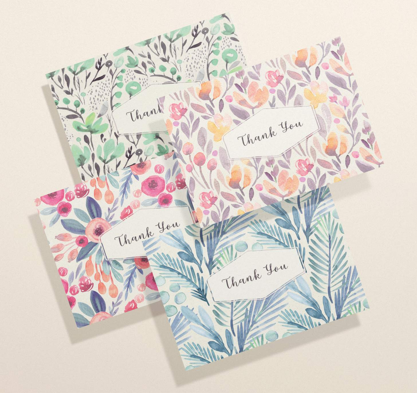 Thank you card with watercolor flowers. Front View.