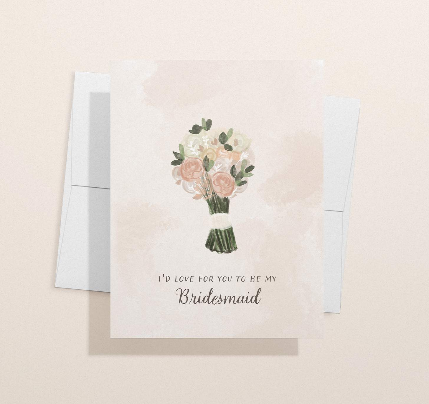 Pink, white, and green wedding flower bouquet design with envelope