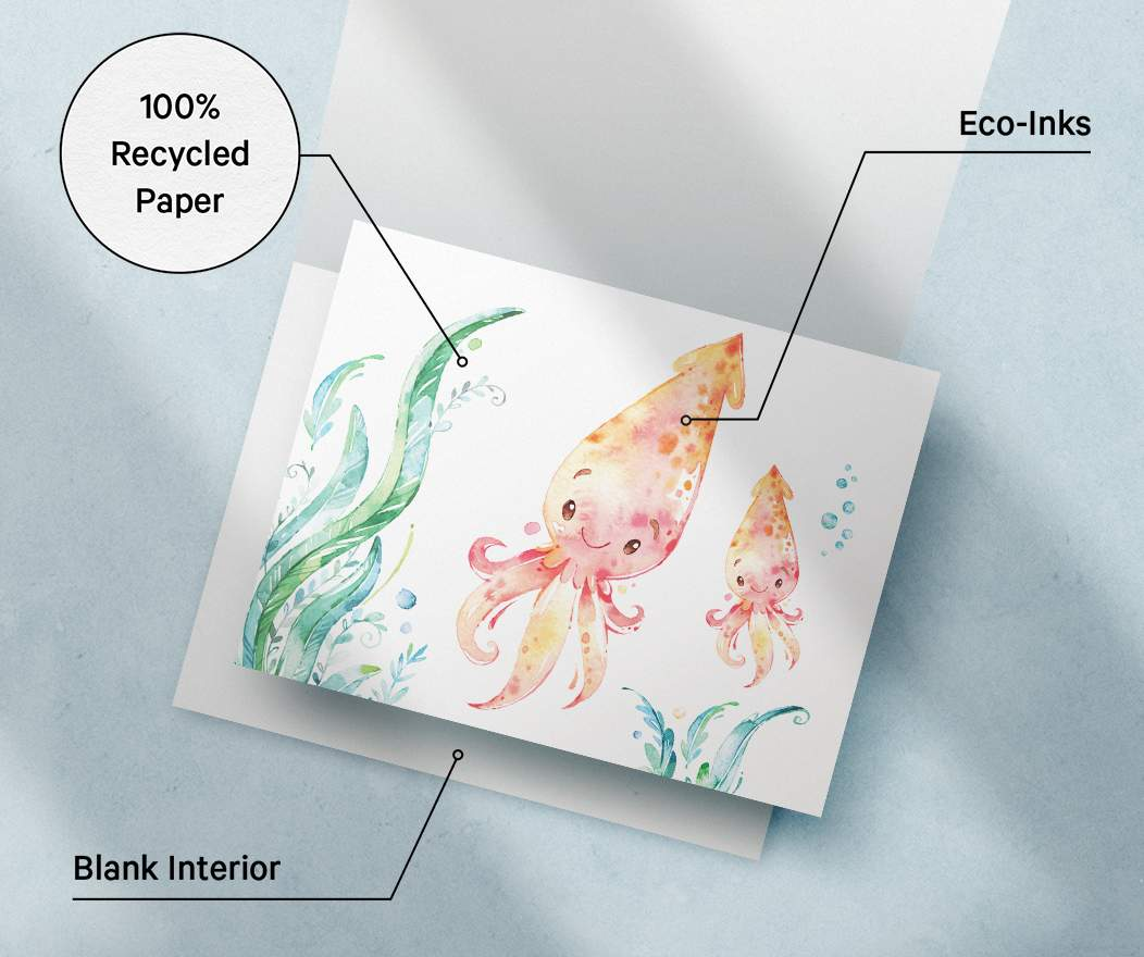Card specifications info; 100% Recycled Paper, Eco Inks, Blank Interior.