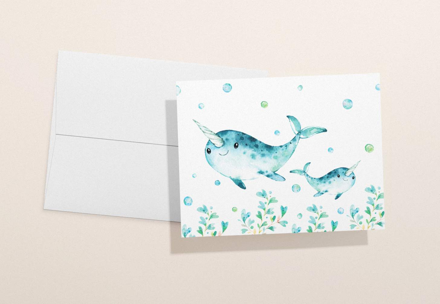 Mother and baby blue narwhal design with bubbles and a white envelope