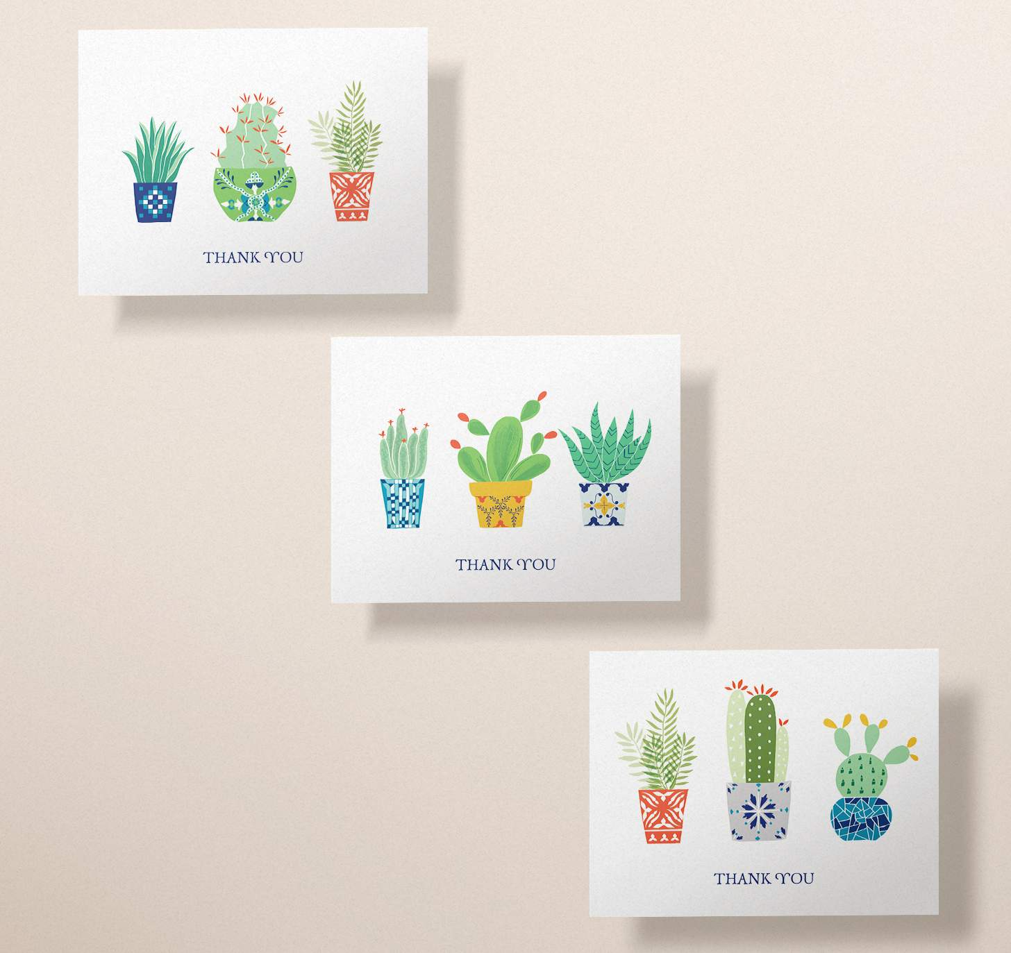 Three assorted colorful cactus card designs