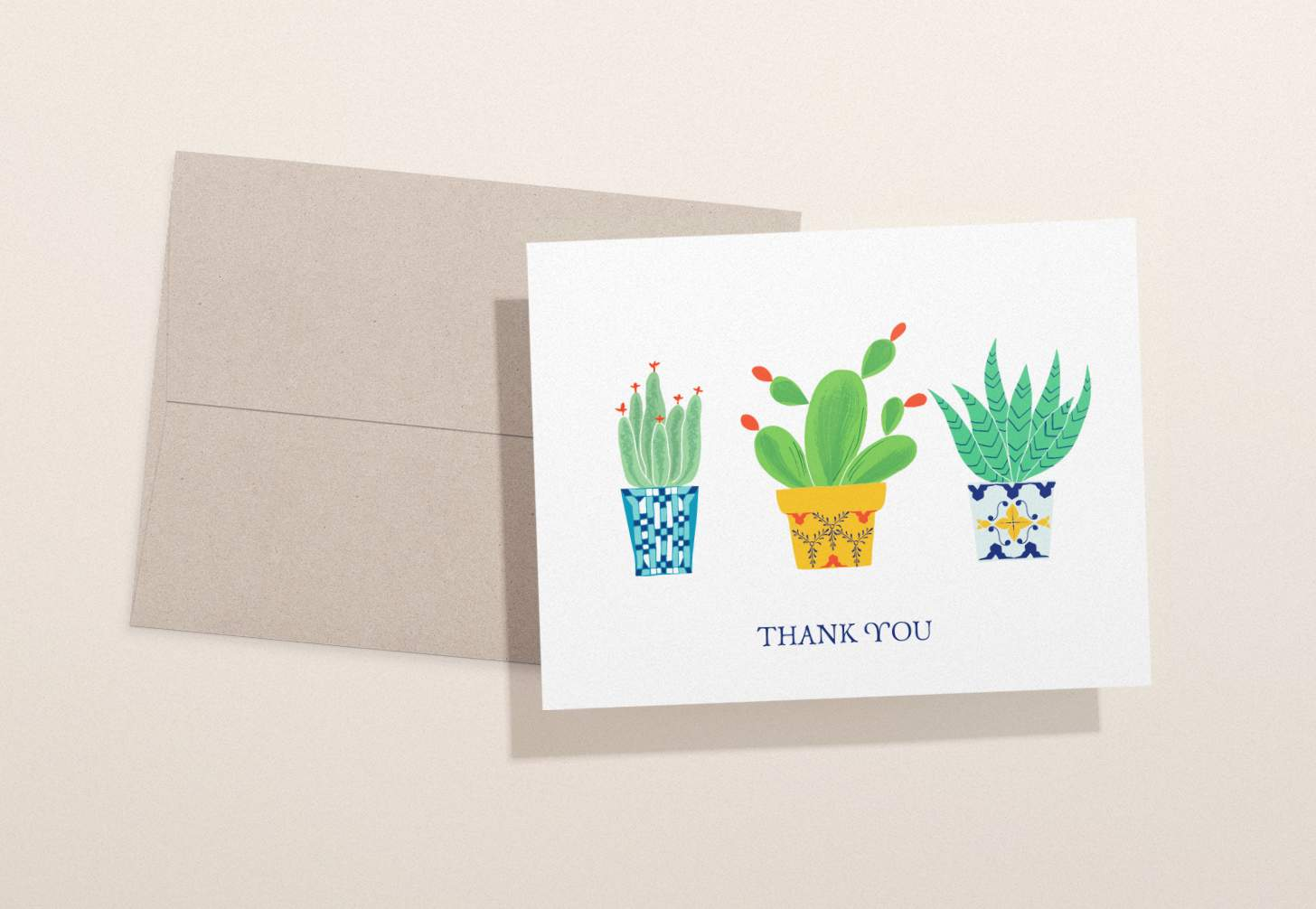 Three colorful succulents design card with brown envelope