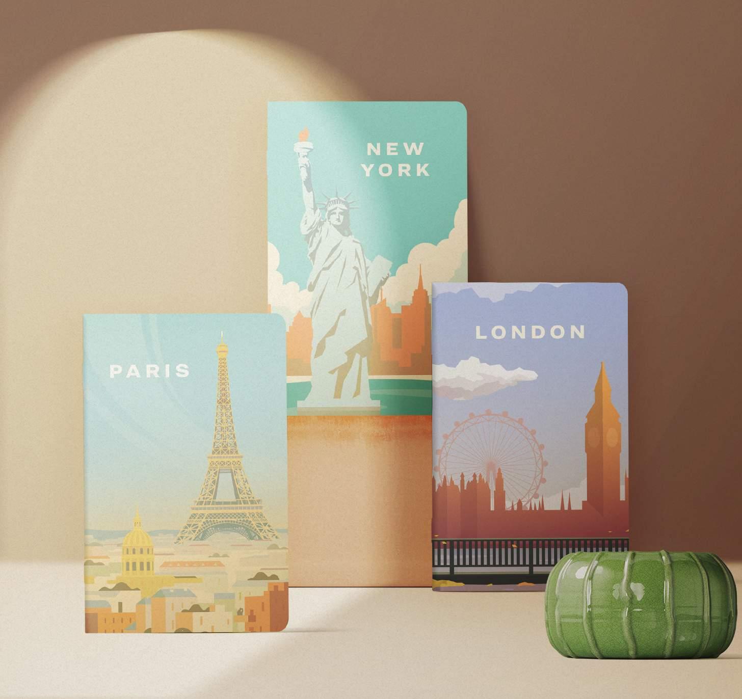 New York, Paris, London themed notebooks