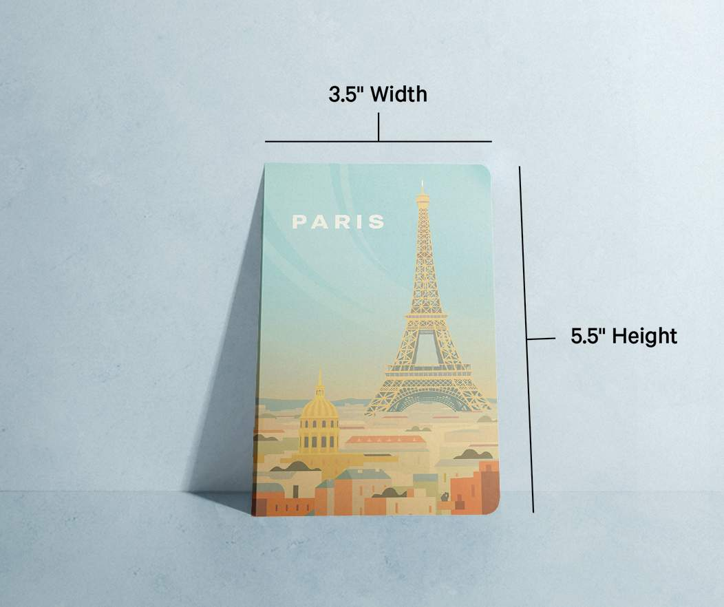 Notebook specifications info; Smooth finish, soy-based ink, 48-page blank interior