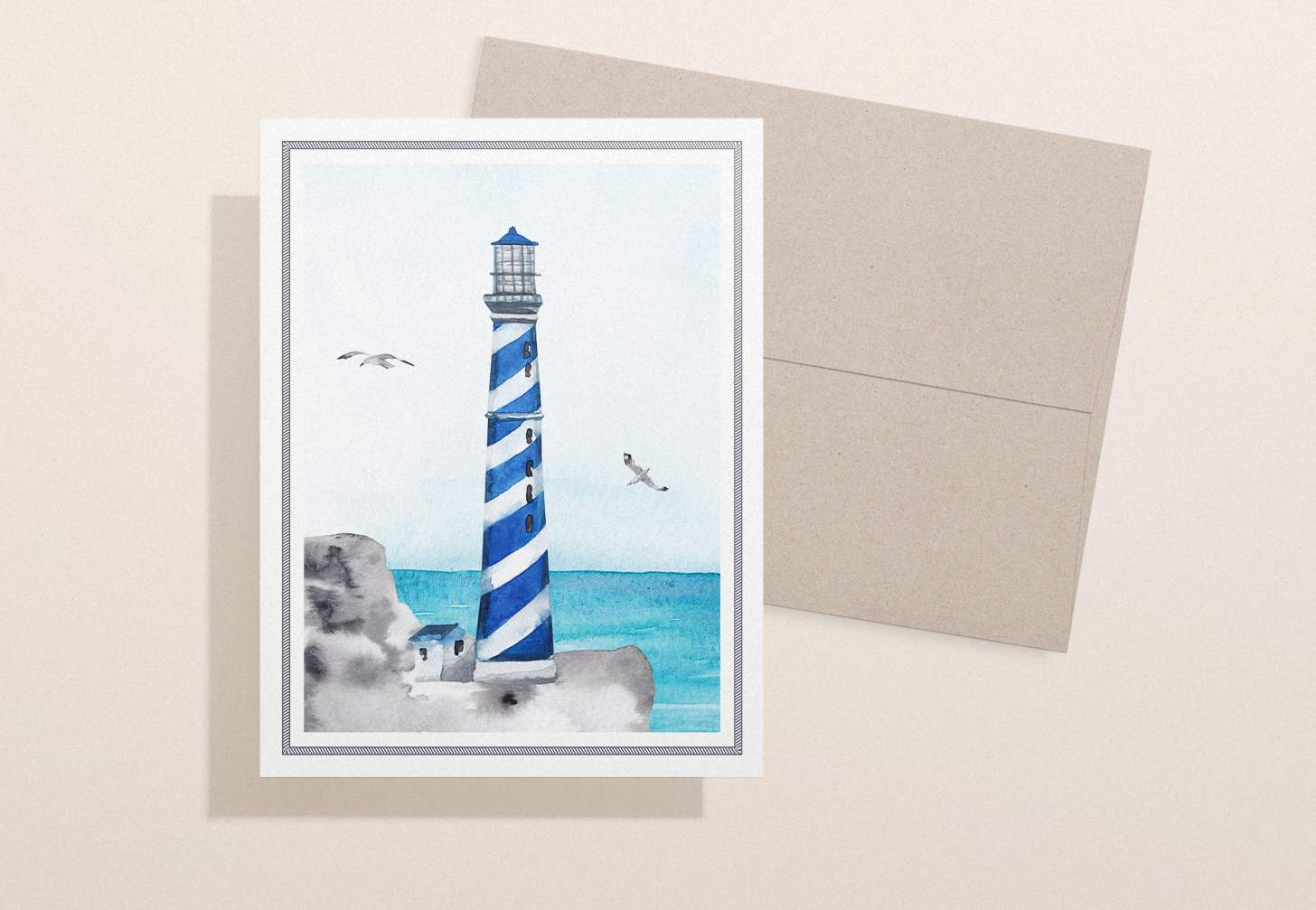 Blue stiped lighthouse card design with ocean with brown envelope