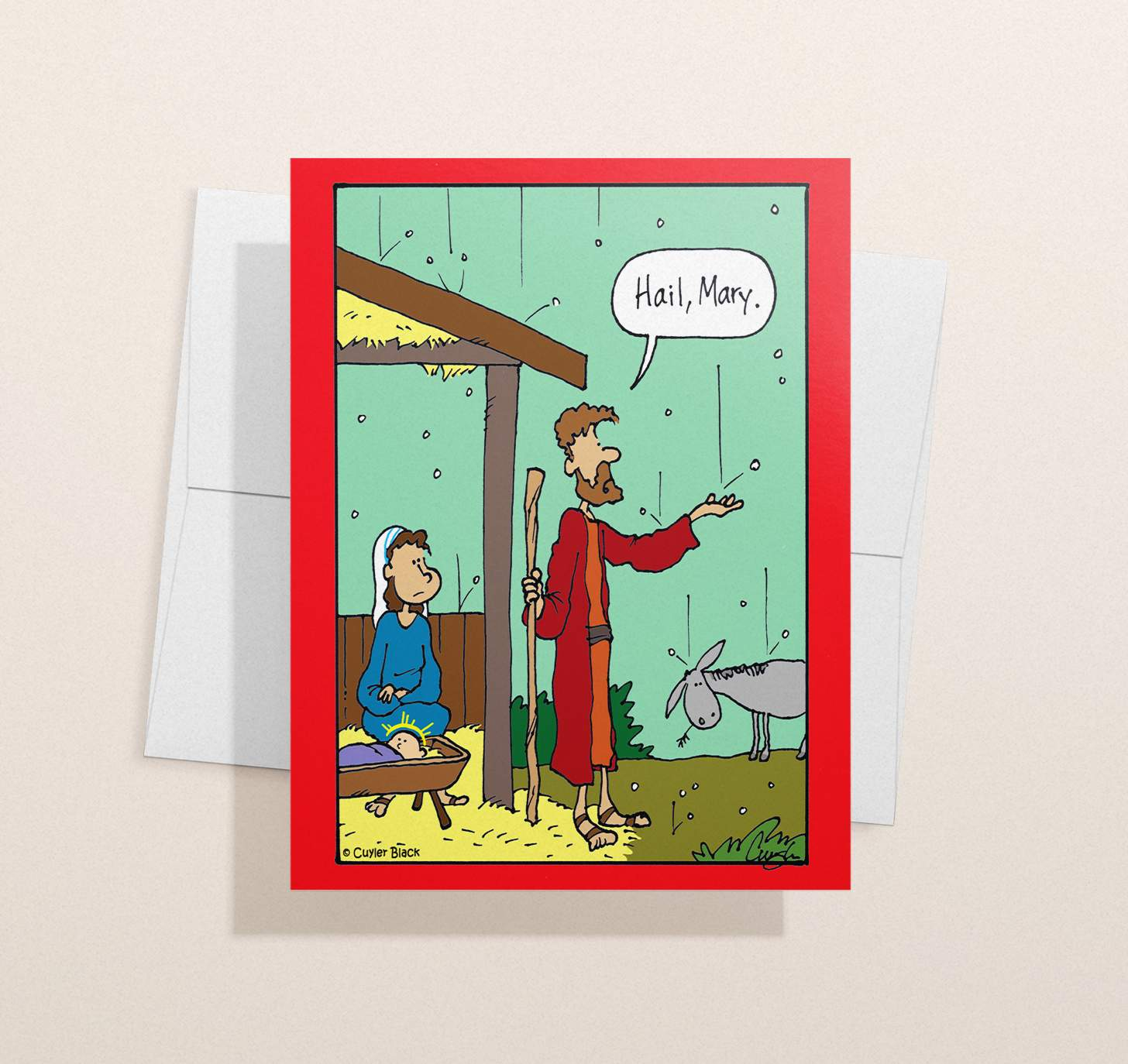 Funny religious design with hail storm with envelope