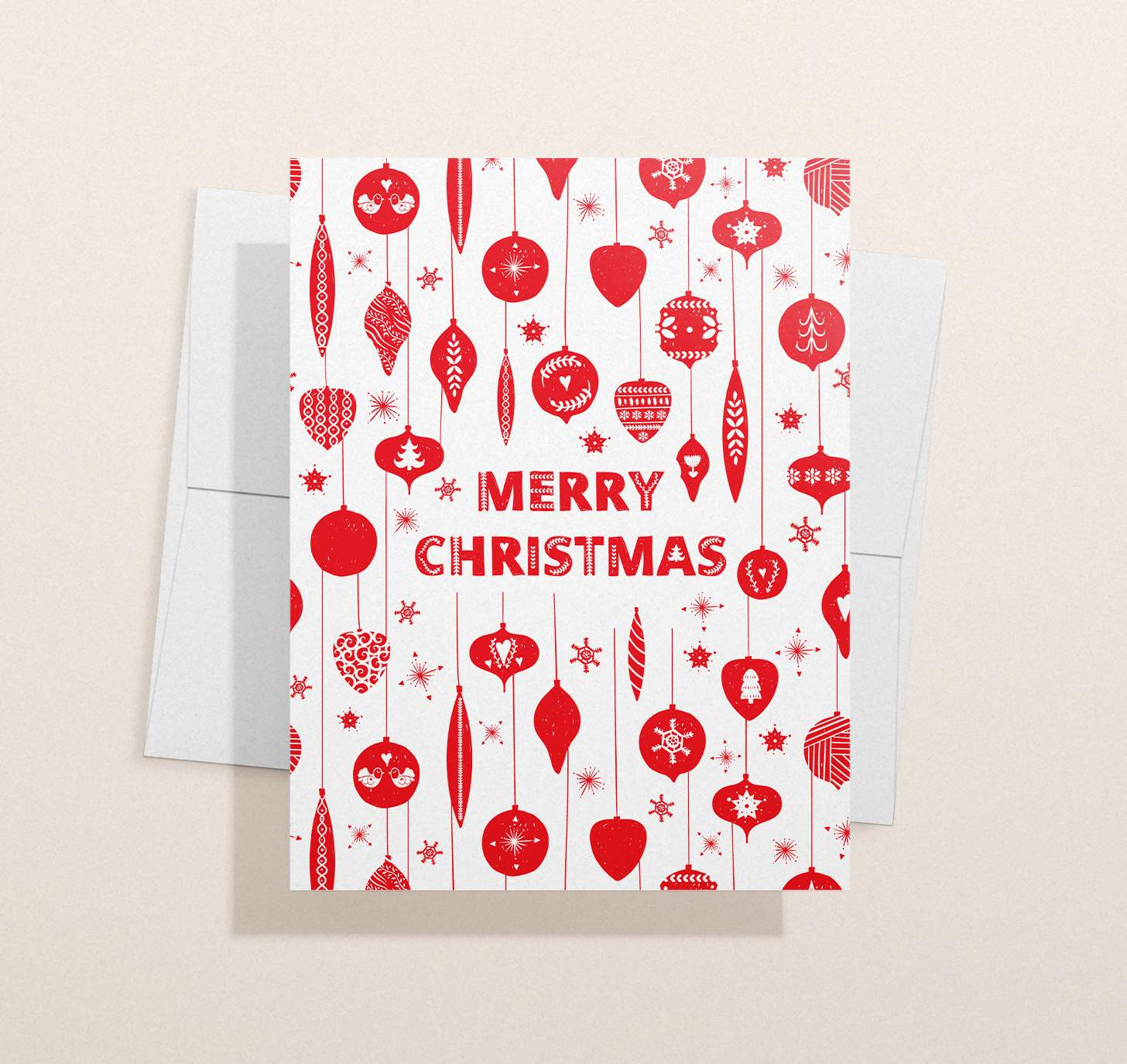 Red and white Merry Christmas with ornaments designs with envelope