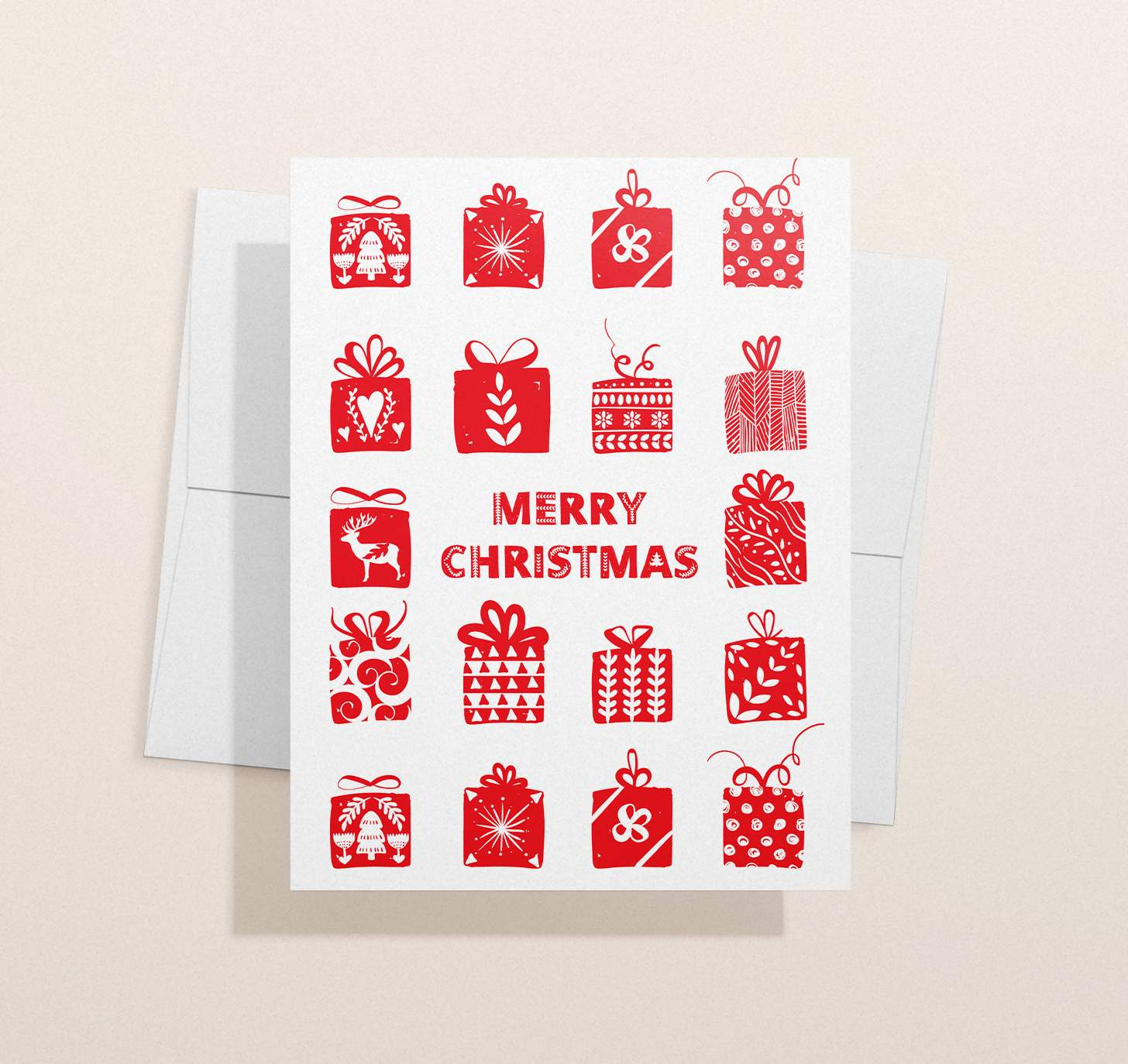 Red and white Merry Christmas with presents designs with envelope