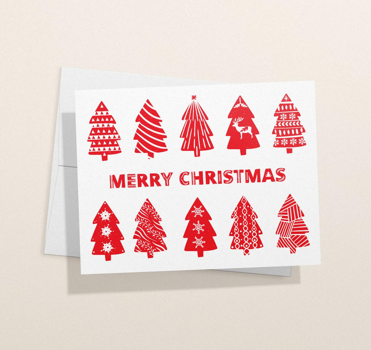Red and white Merry Christmas with Christmas trees designs with envelope