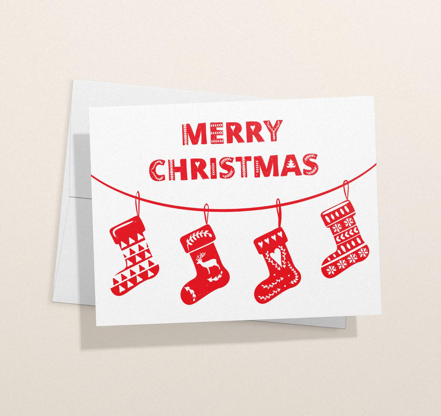 Red and white Merry Christmas with stockings designs with envelope
