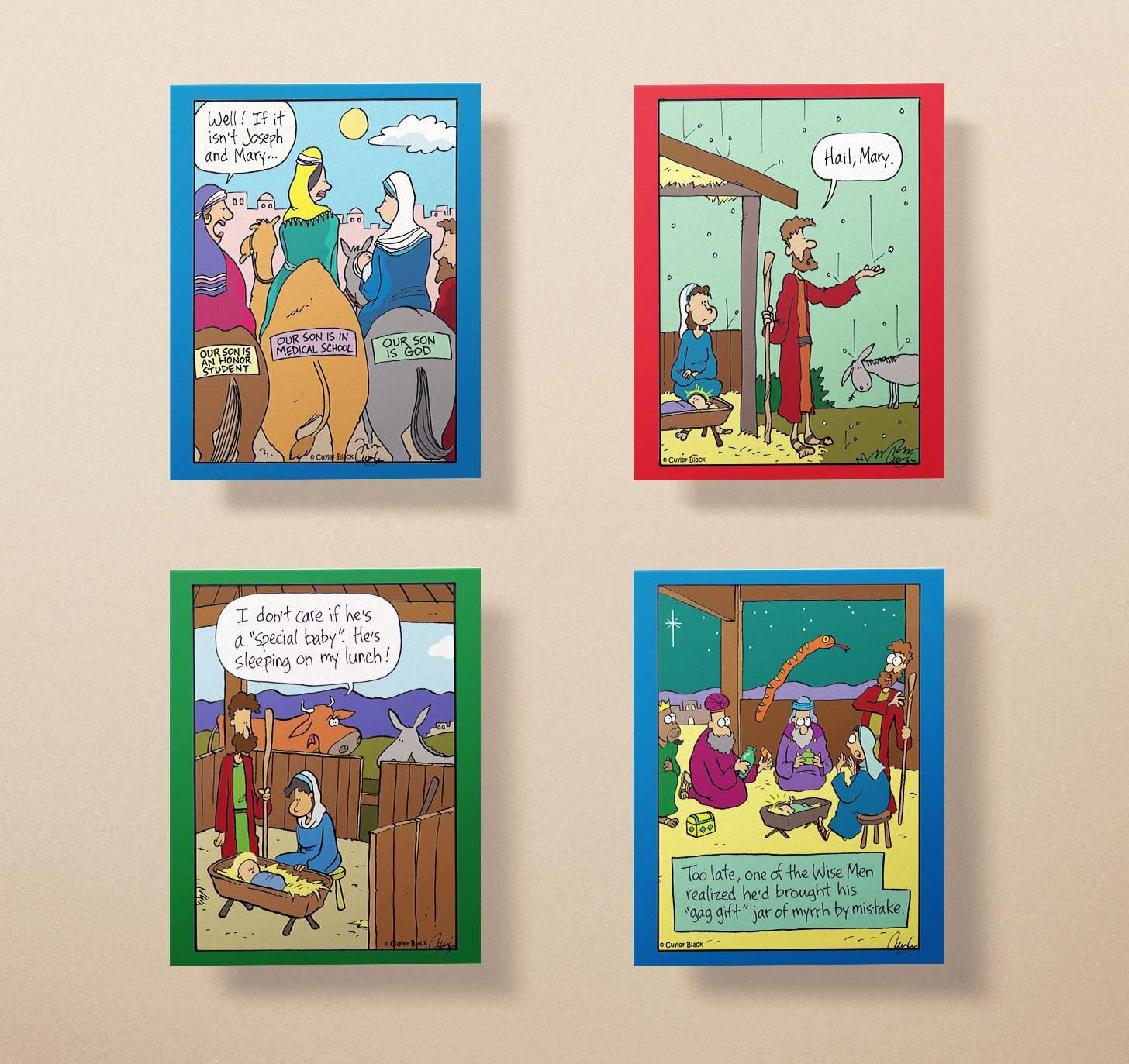 Four assorted funny religious Christmas cards