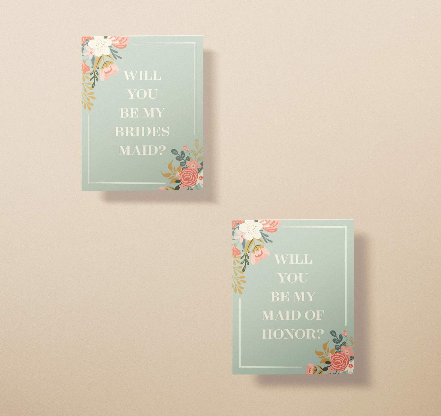 Two green wedding invitation cards with pink and white flower designs
