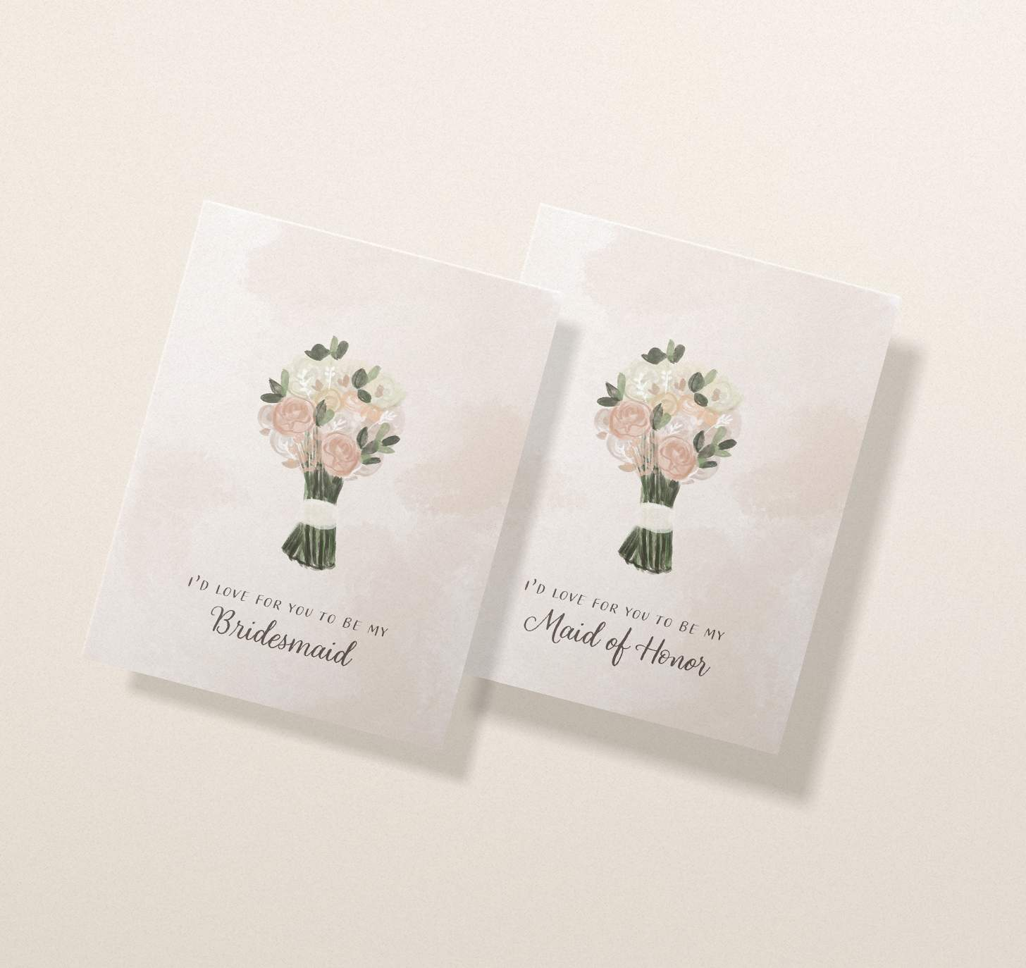 Two overlapping wedding invitation cards with pink, white, and green flower bouquet designs