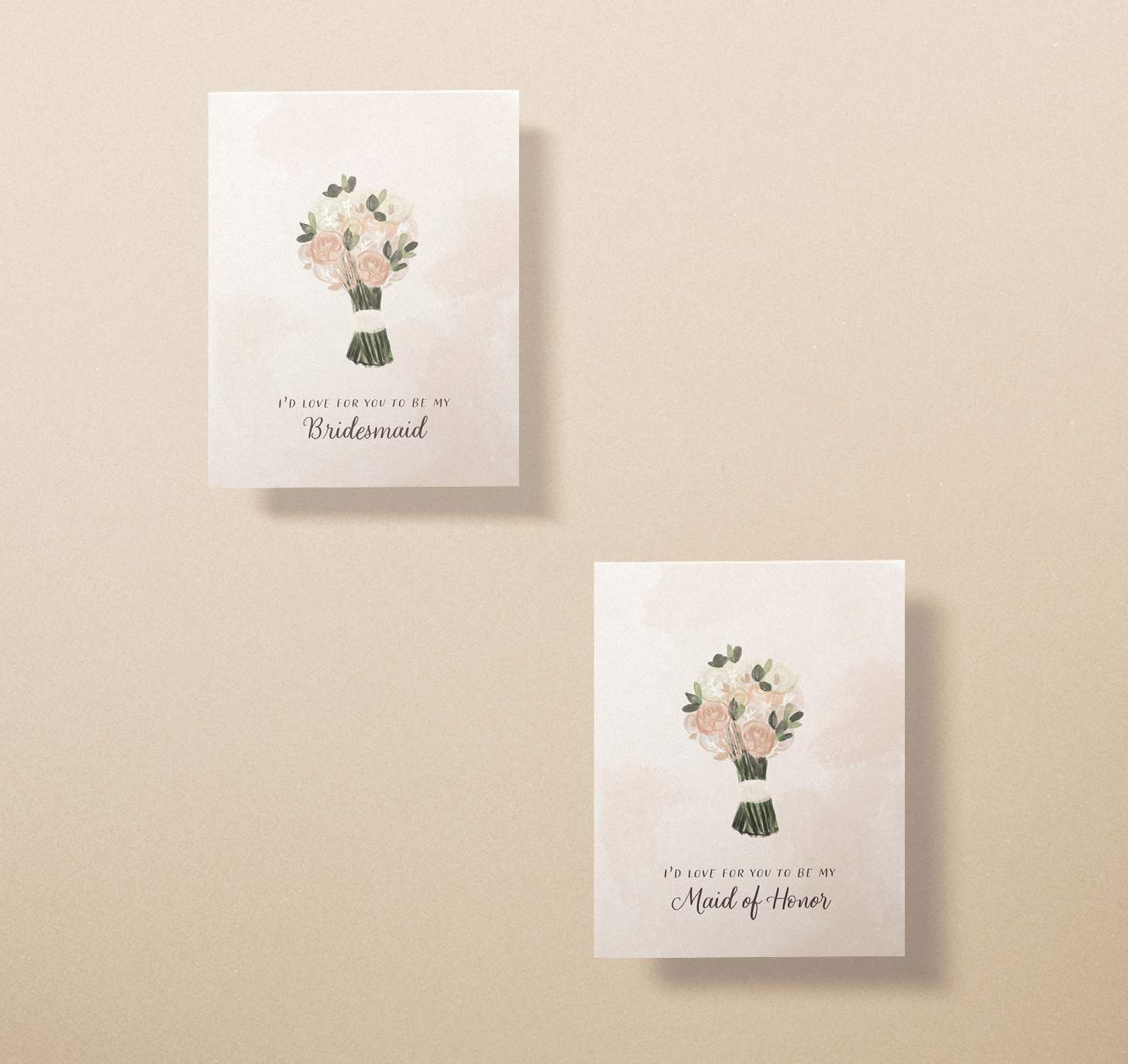 Two wedding invitation cards with pink, white, and green flower bouquets designs