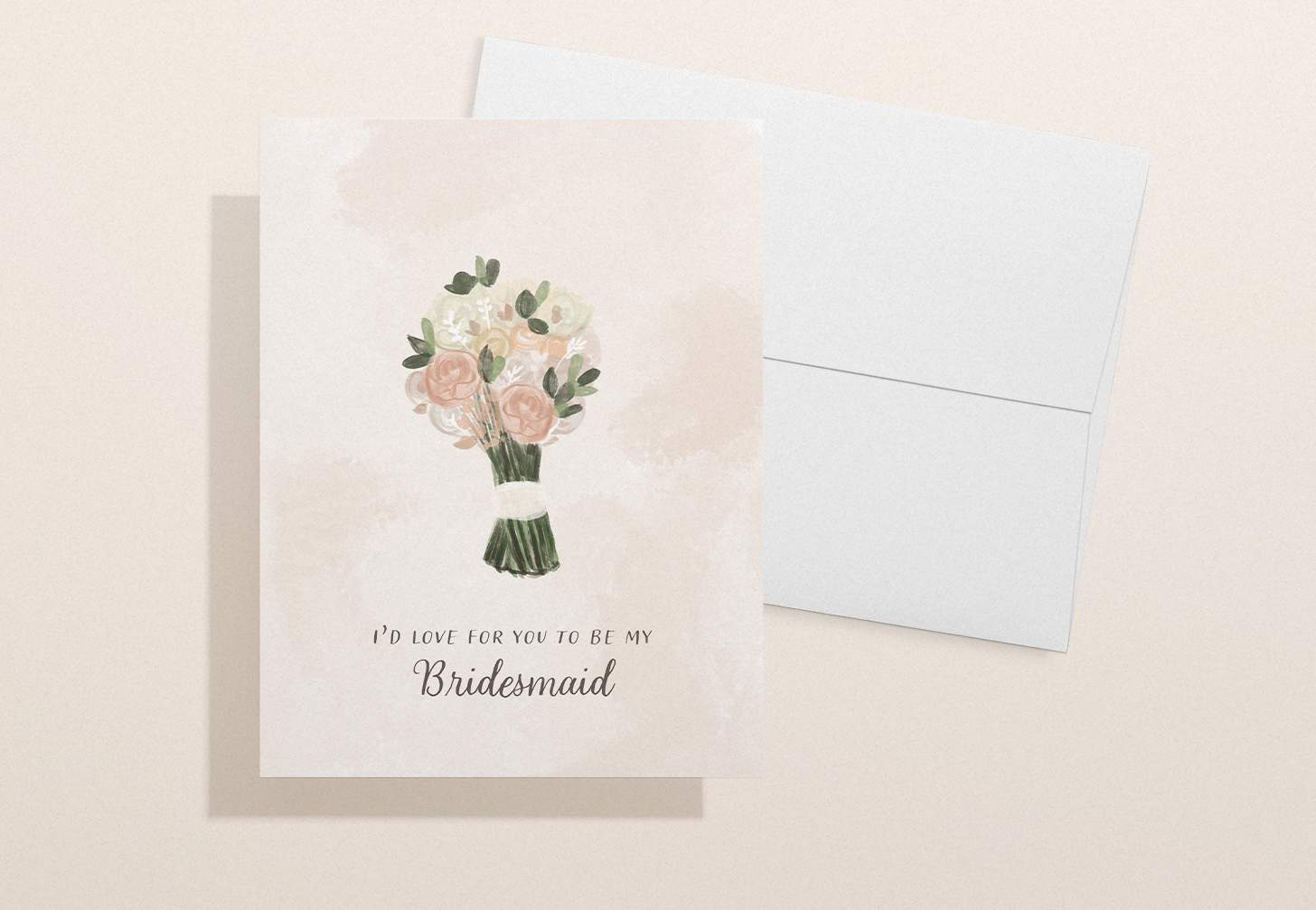 Wedding invitation card with pink, white, and green flower bouquet with white envelope