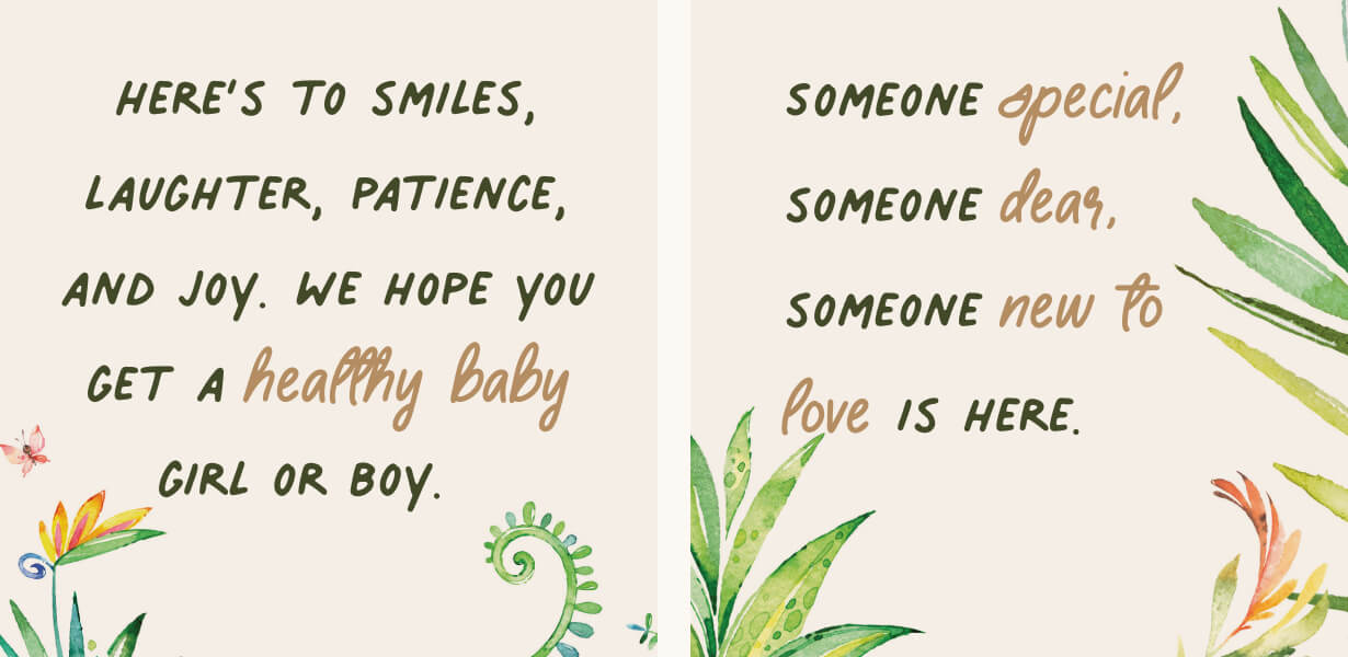 Baby shower wishes for any gender on a backround with leaves