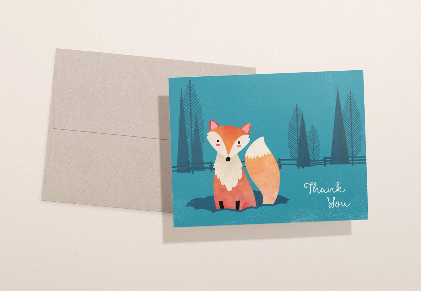 Cute orange fox with blue forest design with brown envelope