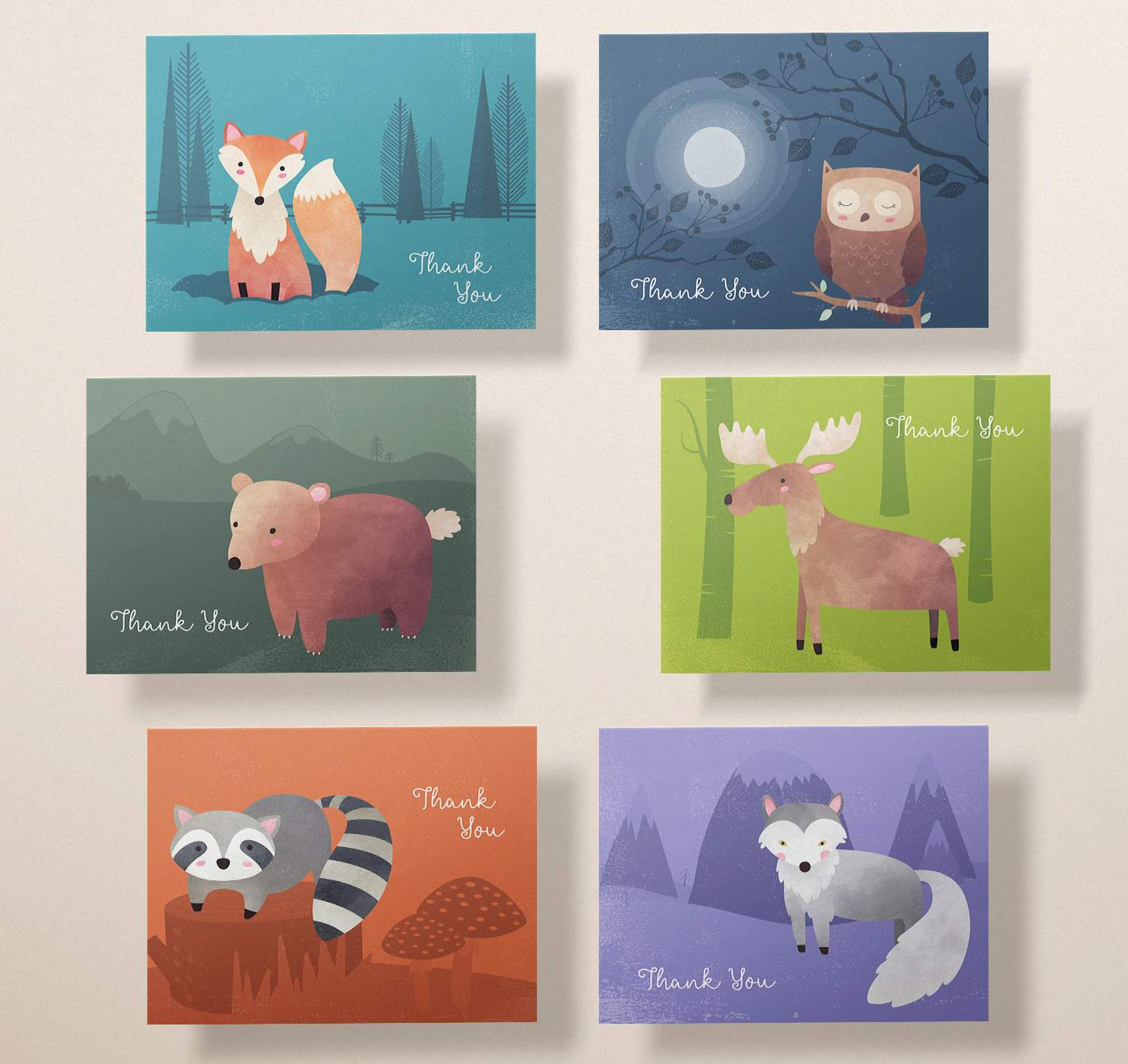 Six cards with cute bear, moose, fox, wolf, raccoon, and owl designs