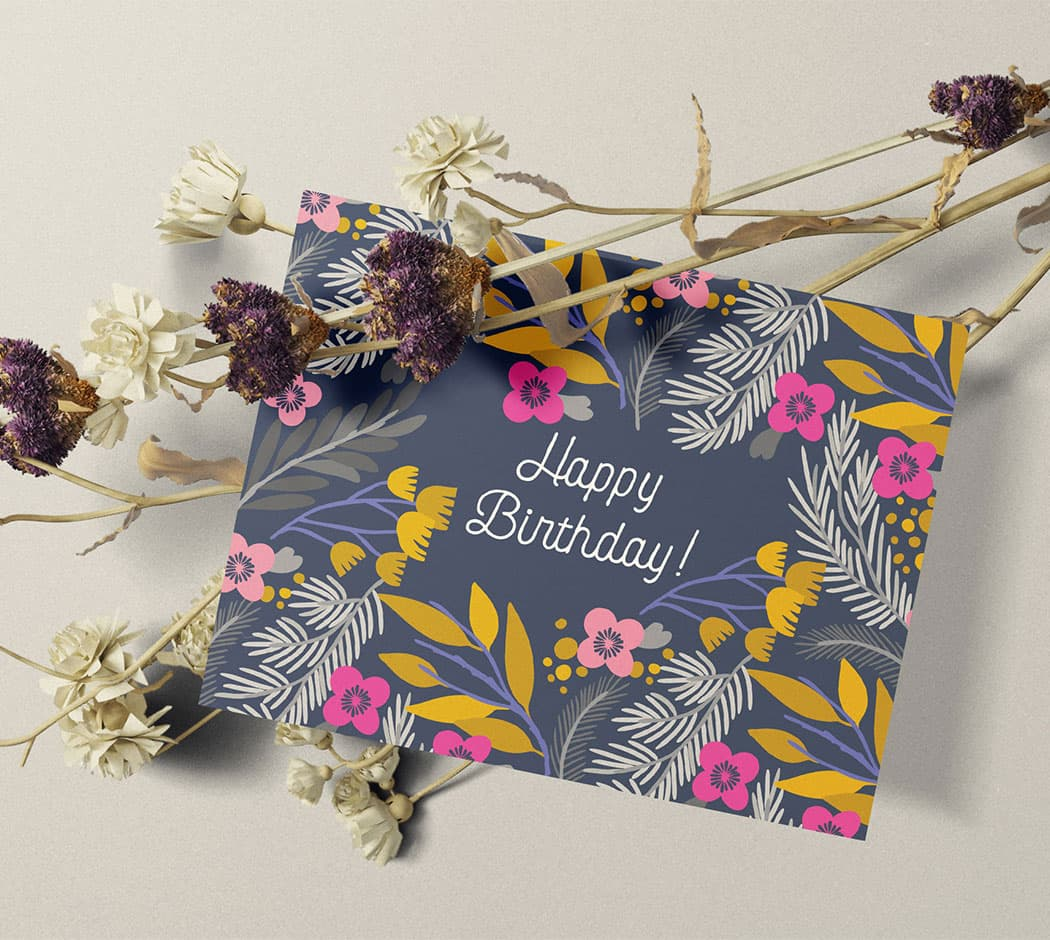 Happy Birthday Flowers Greeting Cards set between a branch of dried flowers