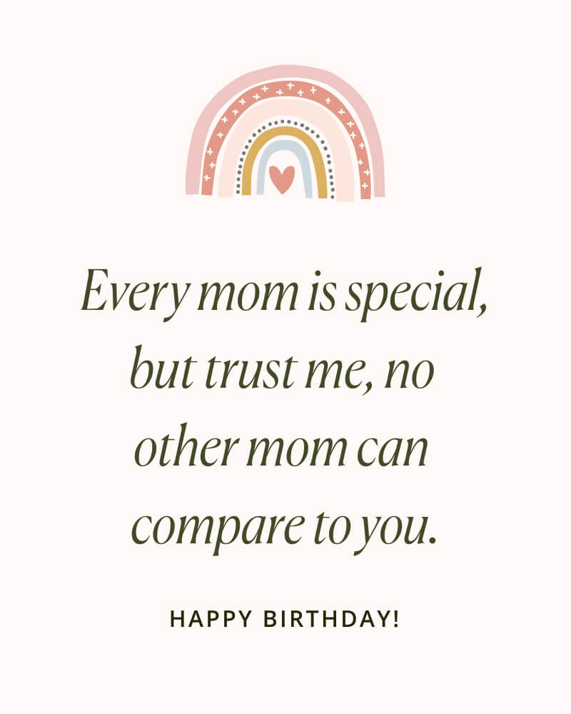 Happy Birthday Mom Message with a colorful rainbow illustration